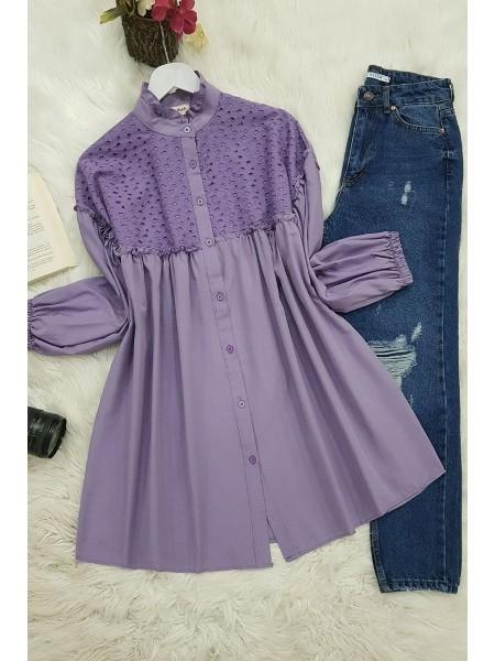 Elastic Sleeve Lace Shirt -Lilac