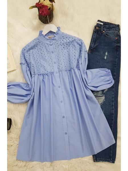 Elastic Sleeve Lace Shirt -Blue