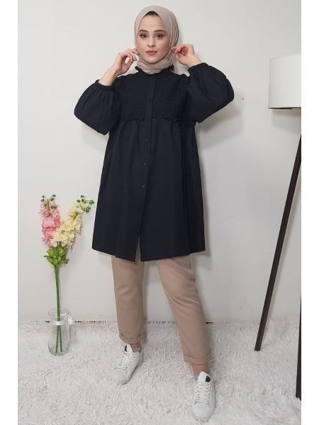 Elastic Sleeve Lace Shirt -Black