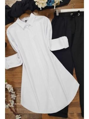 Plain Tunic Shirt -White