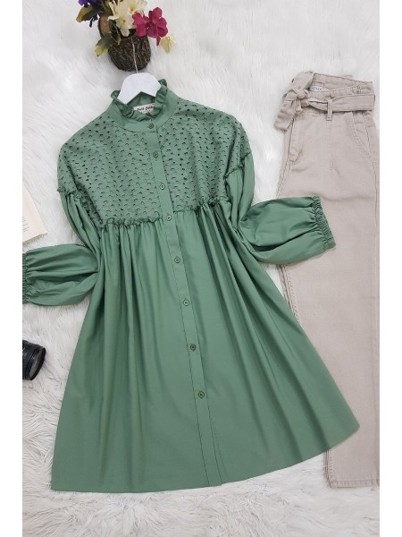 Elastic Sleeve Lace Shirt -Green