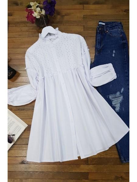 Elastic Sleeve Lace Shirt -White