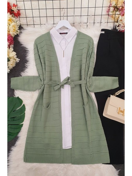 Belted Pocket Thin Cardigan -Green