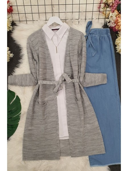 Belted Pocket Thin Cardigan -Grey