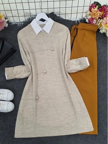Crew Neck Button Detailed Knitwear Tunic -Stone