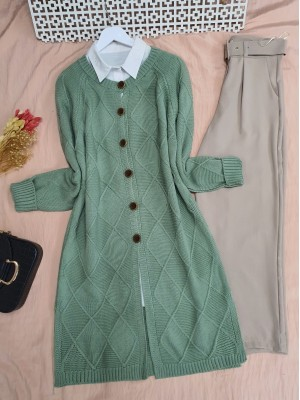 Round Neck Diamond Pattern Knitwear Cardigan -Sea green