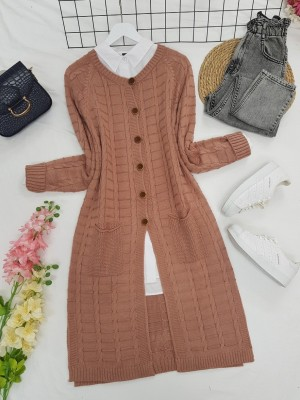Knitted Cardigan with Knitted Buttons, Pockets and Slits -Powder