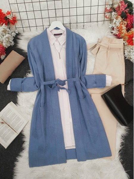 Heart Patterned Layered Cardigan  -Blue