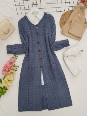 Knitted Cardigan with Knitted Buttons, Pockets and Slits -İndigo