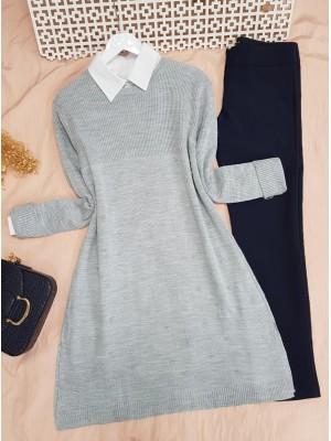 Crew Neck Pompom Slit Knitwear Tunic -Grey