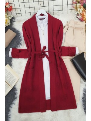 Heart Patterned Layered Cardigan -Maroon