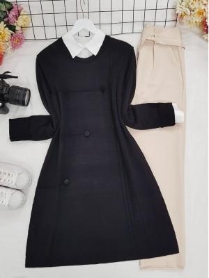 Crew Neck Button Detailed Knitwear Tunic -Black