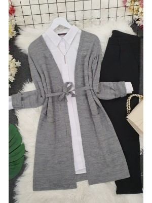 Belted Pompom Thin Cardigan -Smoked