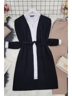 Belted Thin Brass Cardigan -Black