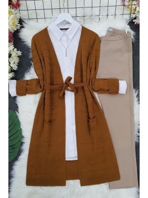 Belted Pompom Thin Cardigan -Snuff