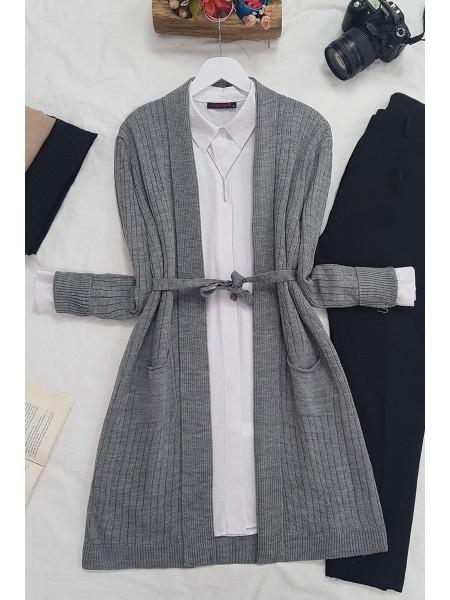 Hair Knit Folded Cardigan -Smoked