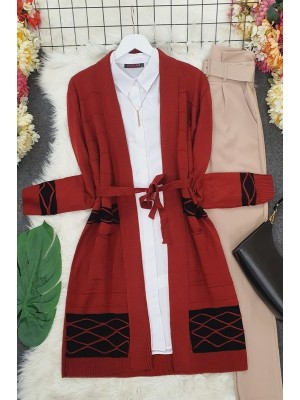 Double Color Layered Cardigan -Maroon