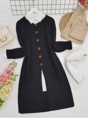Knitted Cardigan with Knitted Buttons, Pockets and Slits -Black