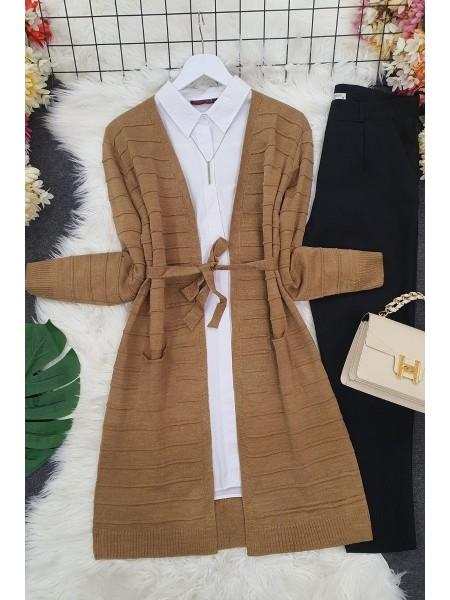 Belted Pocket Thin Cardigan -Mink color