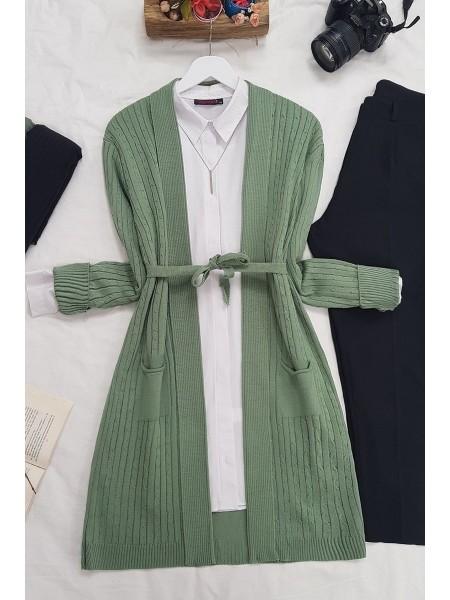 Hair Knit Folded Cardigan -Green