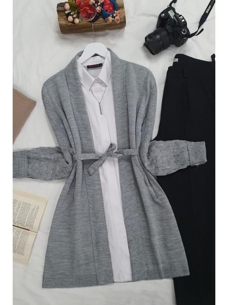 Openwork Sleeves Folded Cardigan -Grey