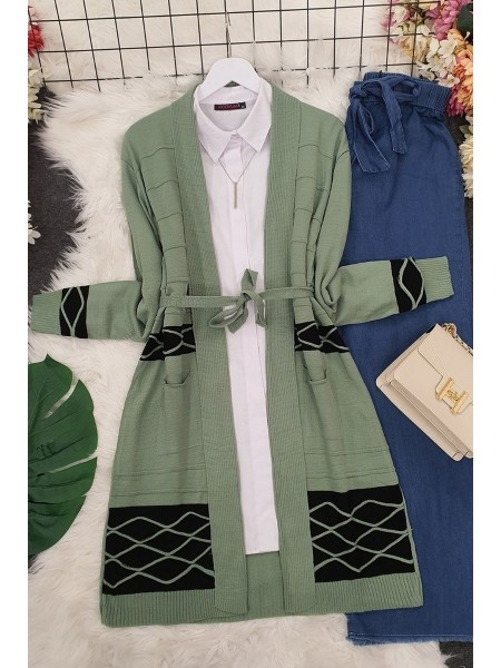 Double Color Layered Cardigan -Green