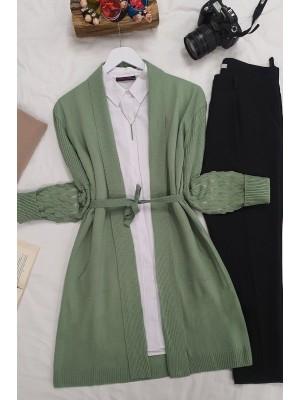 Openwork Sleeves Folded Cardigan -Green