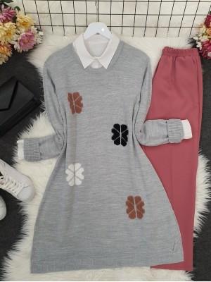 Crew Neck Daisy Embossed Knitwear Tunic -Grey