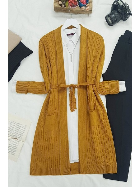 Hair Knit Folded Cardigan -Mustard