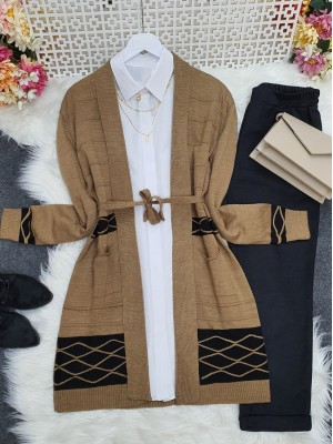 Double Color Layered Cardigan  -Mink color