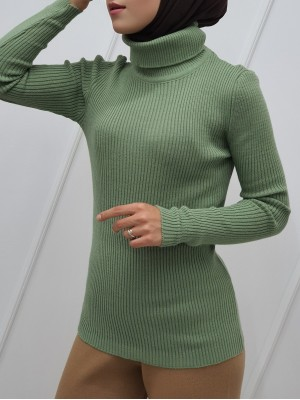 Accordion Knitted Turtleneck Body Sweater -Mint Color