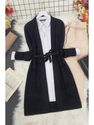 Heart Patterned Layered Cardigan -Black