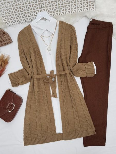Hair Knitting Pattern Belt Intermediate Length Knitwear Cardigan  -Mink color