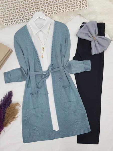 Pompom Detailed Belt Pocket Knitwear Cardigan  -Blue