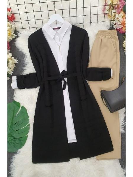Belted Pompom Thin Cardigan -Black