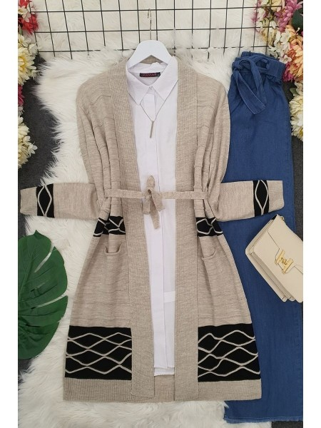 Double Color Layered Cardigan -Stone