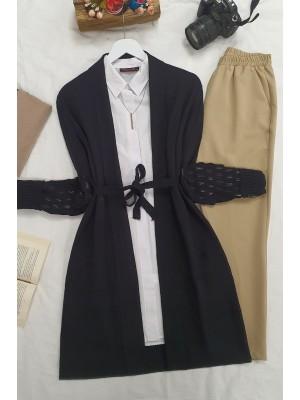 Openwork Sleeves Folded Cardigan -Black