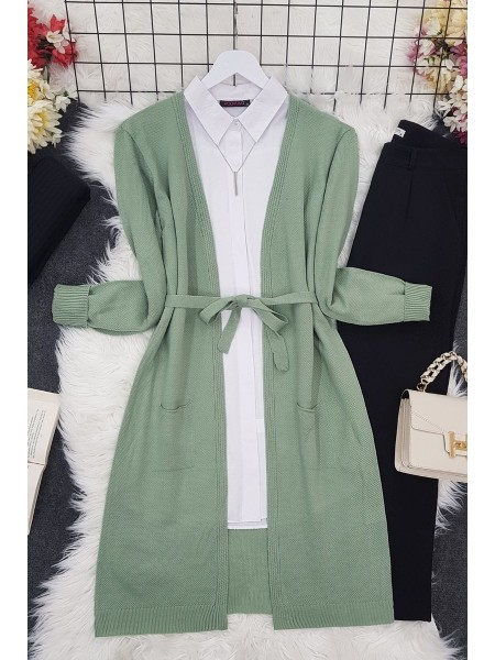 Belted Thin Brass Cardigan -Green