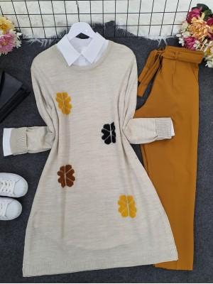 Crew Neck Daisy Embossed Knitwear Tunic -Stone