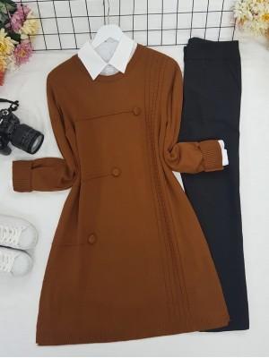 Crew Neck Button Detailed Knitwear Tunic  -Cinnamon