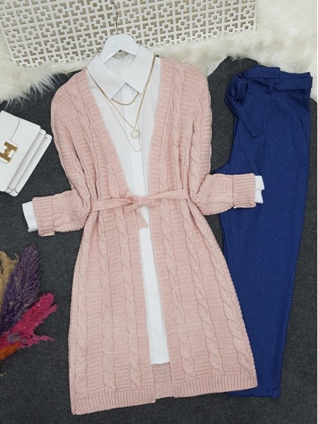 Hair Knitting Pattern Belt Intermediate Length Knitwear Cardigan  -Powder