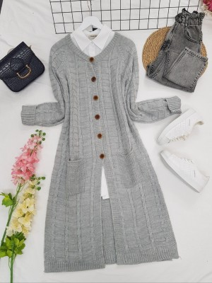 Knitted Cardigan with Knitted Buttons, Pockets and Slits -Grey