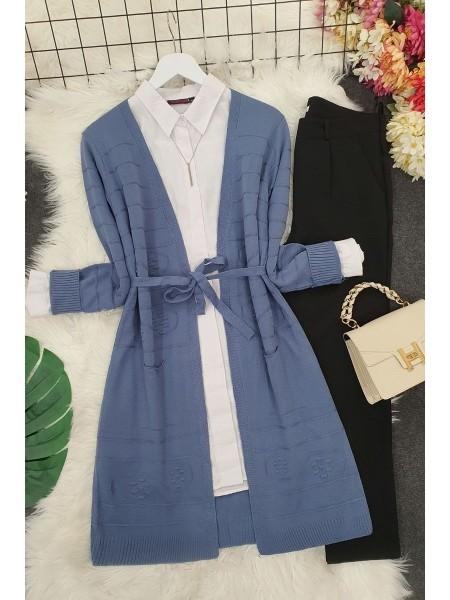 Belted Pompom Thin Cardigan -İndigo