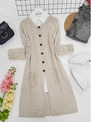 Knitted Cardigan with Knitted Buttons, Pockets and Slits -Stone