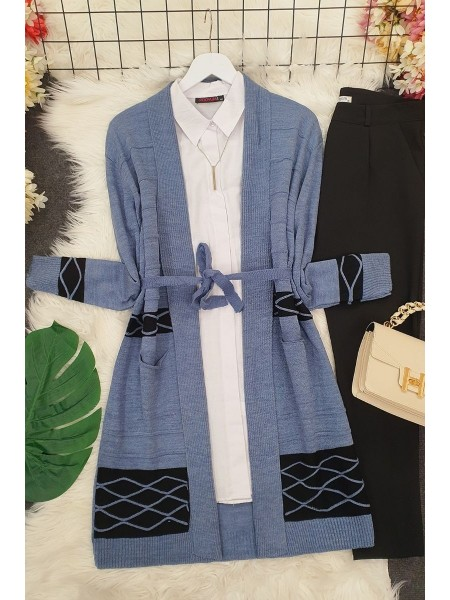 Double Color Layered Cardigan -Blue