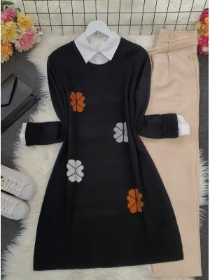 Crew Neck Daisy Embossed Knitwear Tunic -Black
