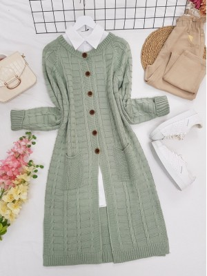 Knitted Cardigan with Knitted Buttons, Pockets and Slits -Sea green