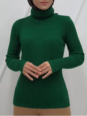 Accordion Knitted Turtleneck Body Sweater -Emerald
