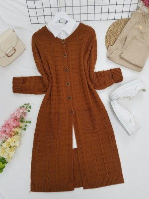 Knitted Cardigan with Knitted Buttons, Pockets and Slits -Snuff