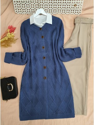 Round Neck Diamond Pattern Knitwear Cardigan -İndigo